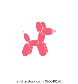 Pink dog balloon animal. Vector Illustration