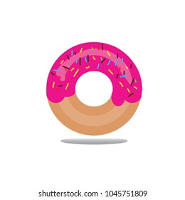 pink donut on isolated white background.
