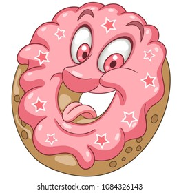 Pink Donut with sprinkling stars. Happy Pastry Food concept. Funny Emoticon. Smiley idea. Emoji cartoon design for kids coloring book, colouring page, t-shirt print, icon, logo, label, patch, sticker.