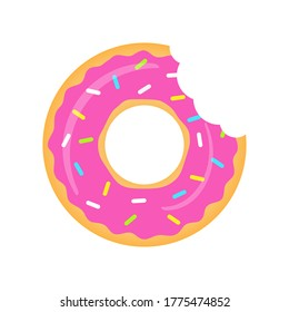 Pink donuts vector isolated on white. Donuts with a mouth bite. Sweet donuts with strawberry glaze illustration.