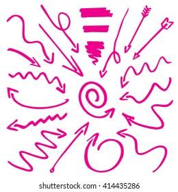 Pink Drawn Arrows. Vector Illustration.