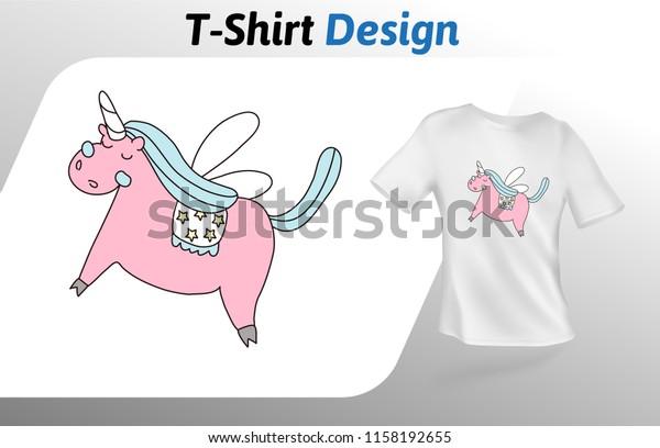 Pink Dreamy Unicorn Tshirt Print Colorful Stock Vector