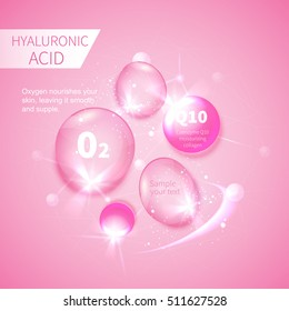 pink drops of hyaluronic acid, a vector background information infographics