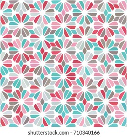 Pink, dusty blue, sky blue, gray spot seamless pattern on white. Tiled round diamond flower background. Abstract floral geometric texture for prints, textile, fabric, cover, greeting card