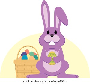 Pink Easter holiday bunny with color collection of eggs
