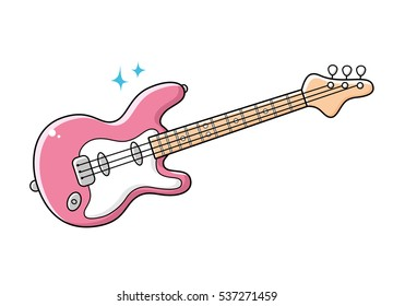 Pink electric toy guitar isolated.