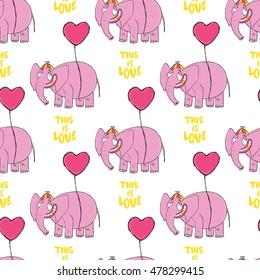 Pink elepant. Original hand drawn cartoon character. High quiality seamless pattern.