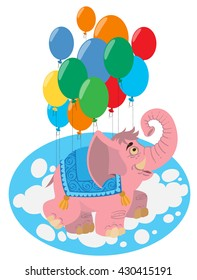 Pink elephant flying in balloons. Color illustration of fantastic animal elephant.