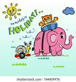 pink elephant and friends are on vacation