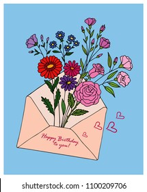 Pink envelope with flowers. Vector birthday greeting card.