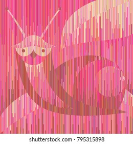 Pink erotic snail in exclusive geometric style. Vertical stripes. What do you think about looking at the pic