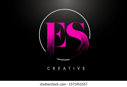 Pink ES Brush Stroke Letter Logo Design. Pink Paint Logo Leters Icon with Elegant Circle Vector Design.