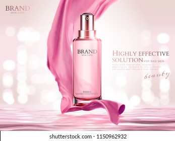 Pink essence spray with satin elements upon water surface and bokeh background in 3d illustration