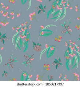 Pink Eucalyptus Blossom with Gumnuts seamless Vector repeat pattern