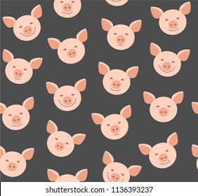 Pink faces of pigs on a gray background. Vector flat pattern. Pigs are laughing, different emotions.