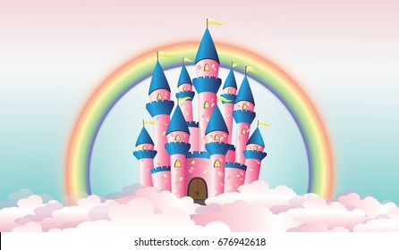 Pink Fairy Tale Castle Among the Clouds and Rainbow Vector Illustration.