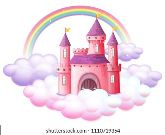 A Pink Fairy Tale Castle illustration