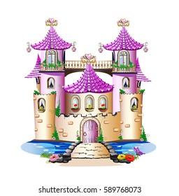 Pink fairy tale castle. Vector illustration