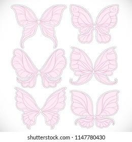 Pink fairy wings with dotted outline for cutting set 2 isolated on a white background