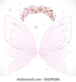 Pink fairy wings with wreath of pink spring flowers bundled isolated on a white background