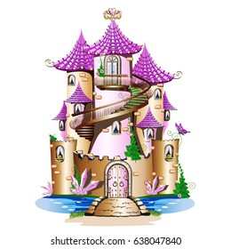 Pink fairytale castle. Fabulous Tower with balcony and spiral staircase