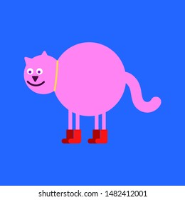 Pink fat cat in red boots. puss in boots
