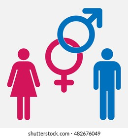Pink female and blue male symbols set. A man and a lady sign set. Vector illustration.