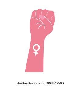 Pink female fist, women rights, feminism.