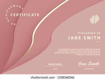 Pink feminine Certificate of Achievement with elegant abstract Design