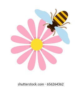Pink field flower with bee top view vector flat material design isolated on white