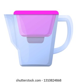 Pink filter water jug icon. Cartoon of pink filter water jug vector icon for web design isolated on white background