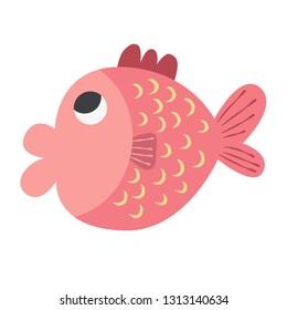Pink fish vector icon illustration