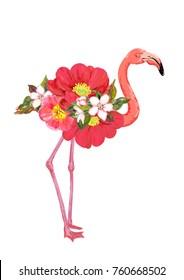Pink flamingo bird with flowers. Vector