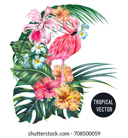 Pink flamingo bird, tropical flowers, palm leaves, monstera, plumeria, hibiscus, orchid flower, jungle leaf composition. Vector exotic plants botanical illustration isolated on white background
