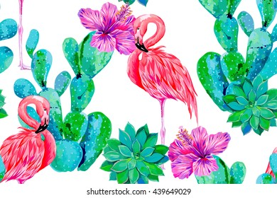 Pink flamingo, exotic birds, tropical flowers, hibiscus, cactus vector seamless floral pattern background