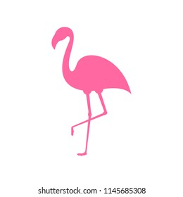 Pink flamingo. Exotic tropical bird. Pink flamingo vector silhouette. Decoration element. Vector illustration isolated on white background