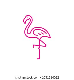 pink flamingo, line style, icon vector
