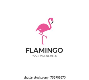 Pink Flamingo Logo Template. Bird Vector Design. Animal World Illustration