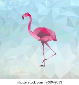 Pink flamingo low poly, background, vector illustration