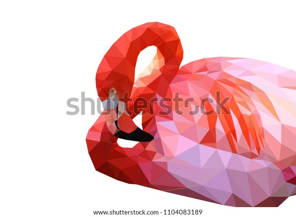 Pink flamingo in low poly style. Vector 10 eps