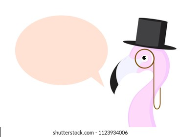 Pink flamingo  with monocle and top hat fun illustration. Vector illustration design.