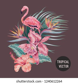 Pink flamingo, orchid, hibiscus, strelitzia, bird of paradise flower, palm leaves, jungle leaf, tropical flowers composition. Vector Hawaiian exotic botanical illustration isolated