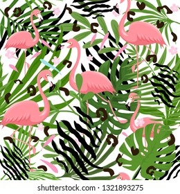 Pink flamingo pattern with animaly skin print's. Vector illustration, summer print design, children print on t-shirt.