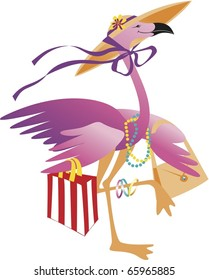 Pink Flamingo With Shopping Bag and Bonnet