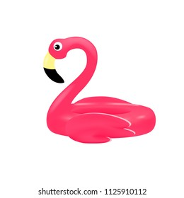 Pink flamingo swimming pool inflatable ring, float. Summer vacation holiday rubber tube for sea beach. Vector illustration, isolated on white background