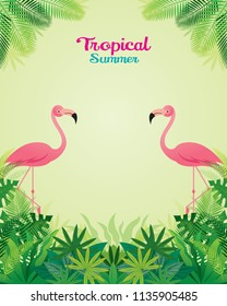 Pink Flamingo with Tropical Jungle Frame , Animal with Plant and Nature, Background