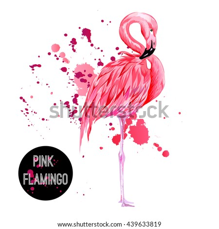 Pink flamingo, watercolor splashes, colorful paint drops. Beautiful vector illustration isolated on white background