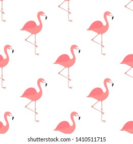 Pink flamingos birds summer pattern. Vector illustration.