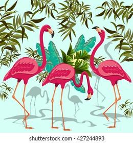 Pink Flamingos Exotic Birds. Decorative Group of Three Flamingos and Exotic Plants