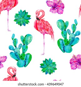 Pink flamingos, exotic birds, tropical flowers, hibiscus, cactus vector seamless floral pattern background